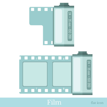 roll film: flat icons film roll, film strip vector illustration Illustration