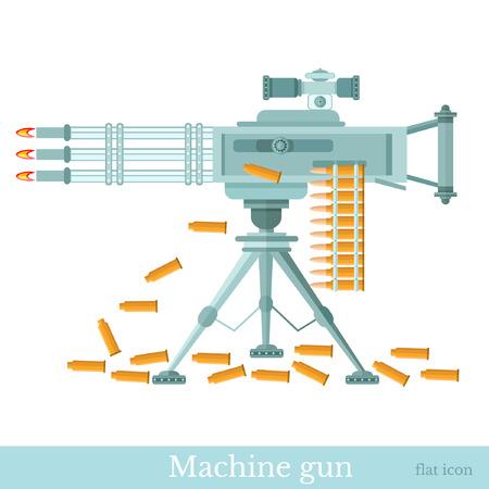 machine-gun: platte machinegeweer met machine-gun riem en mouw geïsoleerd op wit