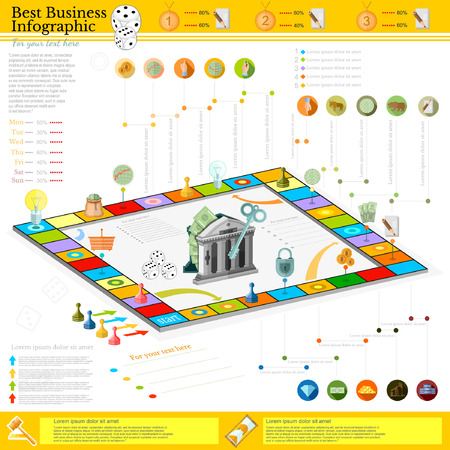augmentation: flat business infographic background with finanial board game game cells, dice, game pieces, money, pointer, icon etc Illustration