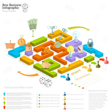 flat business maze infographic background with finanial board game game cells dice game pieces money