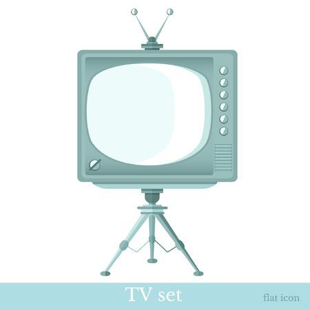 tv set: flat icon tv set on tripod isolated on white Illustration