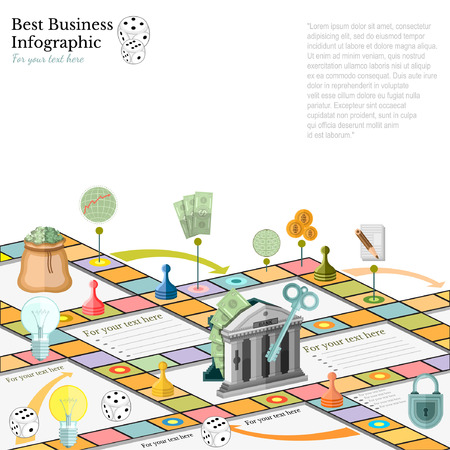 flat business infographic background with finanial board game game cells dice game pieces money Illustration