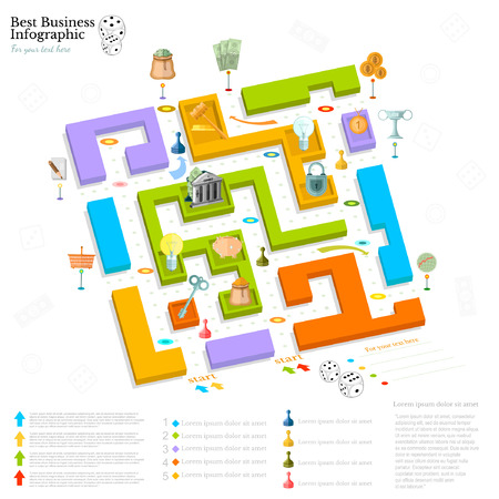 construction plans: flat business maze infographic background top view with finanial board game game cells dice game pieces money
