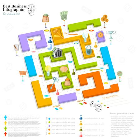laberinto negocio plana vista infografía superior de fondo con mesa finanial células juego juego de dados piezas del juego de dinero