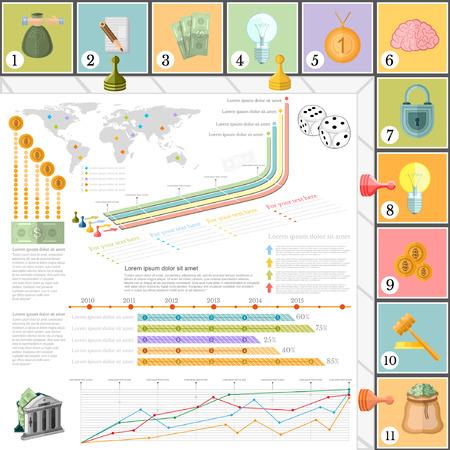 brettspiel: Flachgesch�ftsinfografik Hintergrund Ansicht von oben mit finanial Brettspiel Spiel Zellen W�rfelspiel St�cke Geld Illustration