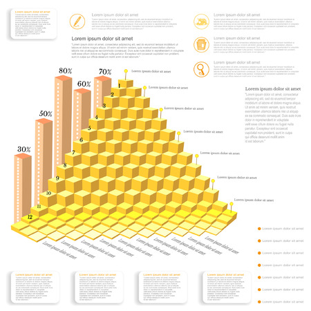 augmentation: business infographic gold piramide from cubes and icons pointers notes