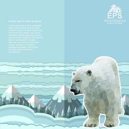 horizont: crumpled paper background with polar bear and snow forest and mountines on horizont