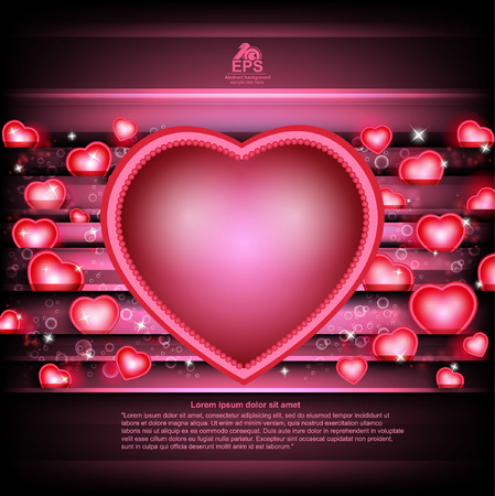 st valentin: valentines day glowing background with hearts and heart frame middle Illustration