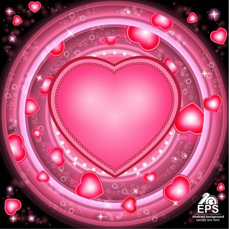 st  valentin: valentines day glowing circle background with hearts and heart frame middle