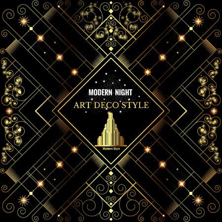 아르 데코 기하학적 인 패턴 황금 반짝이 배경 현대 1920 년대 스타일