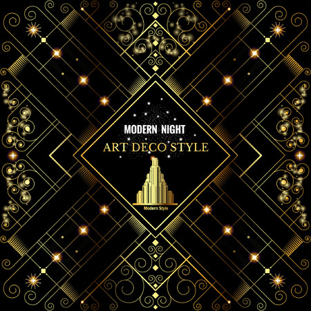 yellow art: Art deco geometric pattern golden shiny background modern 1920s style