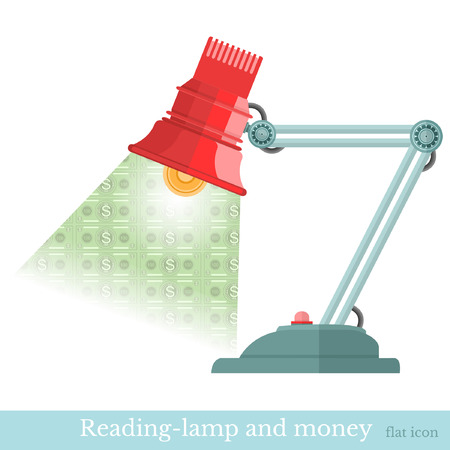 turning table: business concept background reading-lamp and beam flashed money