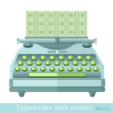 augmentation: flat icon typewriter with the make mooney isolated on white