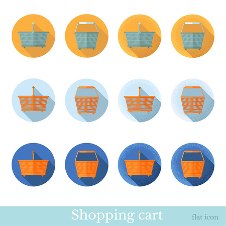 side effect: set of flat business circle icon with long shadow effect shopping basket front view, side view
