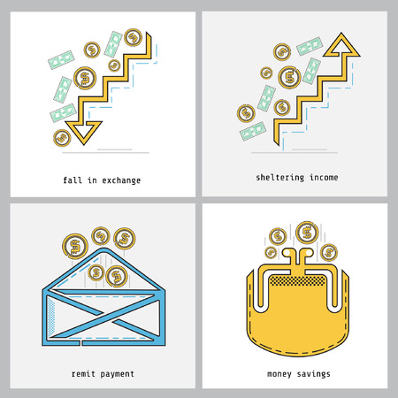 remit: business color line icon fall in exchange, sheltering income, remit payment, money savings Illustration