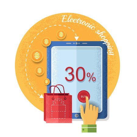 e shopping: table with handpointer, buy bag with present, Vintage retro style e shopping icon on circle background