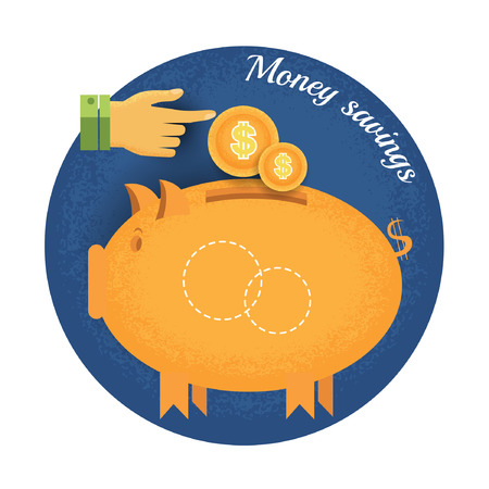augmentation: piggy bank with coin and hand pointer Vintage retro style money saving icon on blue circle background Illustration
