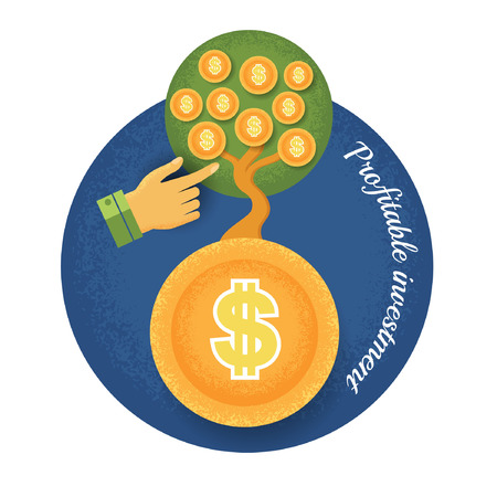 grow money: money tree grow from coin with  hand pointer Vintage retro style finance  icon profitable investment on blue circle background