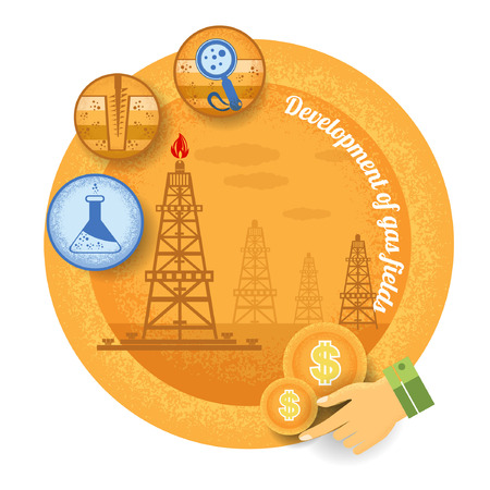 petroleum blue: gas rig with icon of process of gas production.Vintage retro style finance icon development of gas field on yellow circle background Illustration