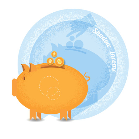 shady: shady business piggy bank with coin but shadow hand pointer put in coin on wall.Vintage retro style shadow income icon on blue circle background Illustration