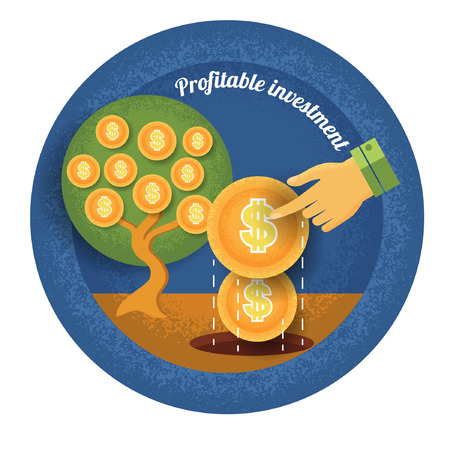 profitable: hand put seed coin in ground and grow up money tree Vintage retro style finance  icon profitable investment on blue circle background Illustration