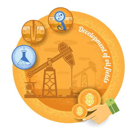 oil derrick: oil derrick with icon of process of oil production.Vintage retro style finance icon development of oil field on yellow circle background Illustration