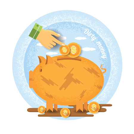 augmentation: hand pointer put in coin in dirty piggy bank stand in puddle of mud.Vintage retro style dirty money icon on blue circle background