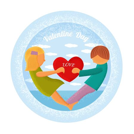 st valentin: boy and girl hold heart circle blue background isolated on white