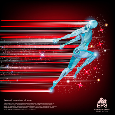 background with cyborg flying or runing with speed of light and motion blur track back for it