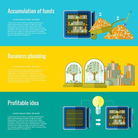 fondos negocios: acumulaci�n de negocio de fondos de planificaci�n idea rentable tres concepto de fondo plano