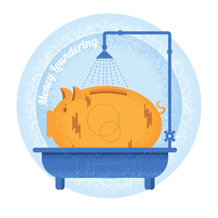 augmentation: Money loundering.Dirty piggy bank stand in bath.Vintage retro style money loundering icon on blue circle background