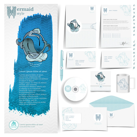White corporate identity template with blue sea mermaid elements.Vector company style for brandbook and guideline.