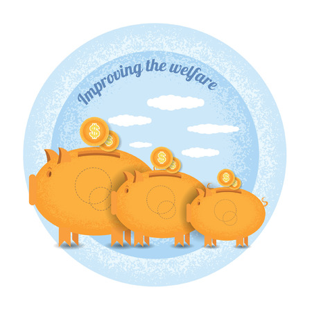 augmentation: Improving the welfare.Three piggy bank stand with coin.Vintage retro style shadow income icon on blue circle background Illustration