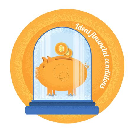 financial condition: Ideal financial condition.Piggy bank stand under the bulb.Vintage retro style ideal financial condition icon on orange circle background Illustration