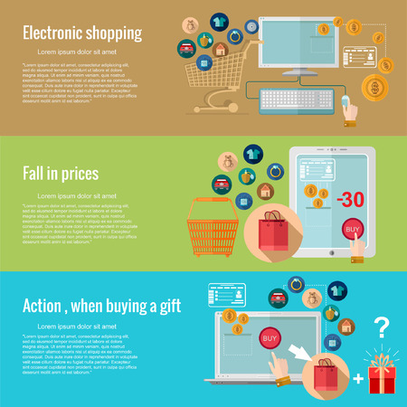 when: Flat design concepts for e-shopping.electronic shopping, fall in prices, action when buying a gift.Concepts for web banners and promotional materials.