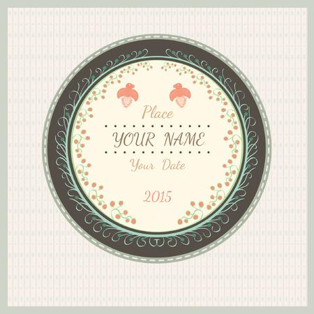 valentin: wedding love vintage background with plant bird and flourish pattern on round background