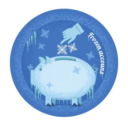 icicle: Frozen accounts. Piggy bank stand frozen with icicle and snowflakes Illustration