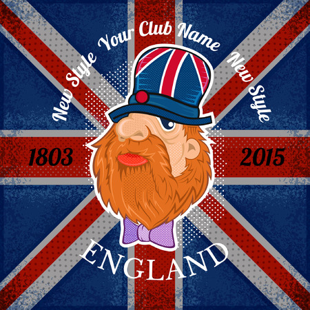 beard head of englishman in hat on british flag grunge background.print street style