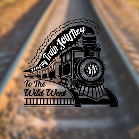 photo realistic: train background with old locomotive with wagons and text happy train journey in smoke label on rails blur photo