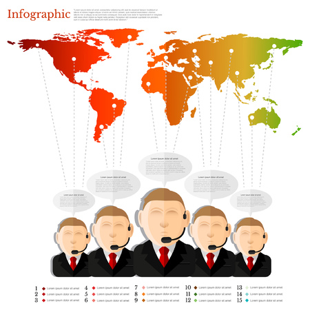 conection: group of man with speech bubble of information spreading all world.flat concept infographic