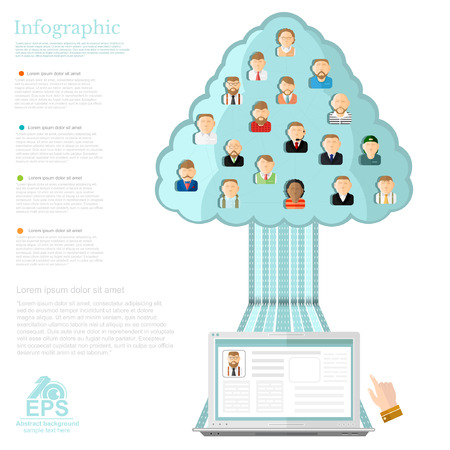 social networks: notebook conecting with tree of social networks with ions of different people.flat concept infographic