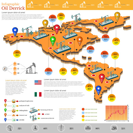 the americas: set of flat design of gas fields and gas rig infographics gas production on the Americas and Mexico and gas exploration