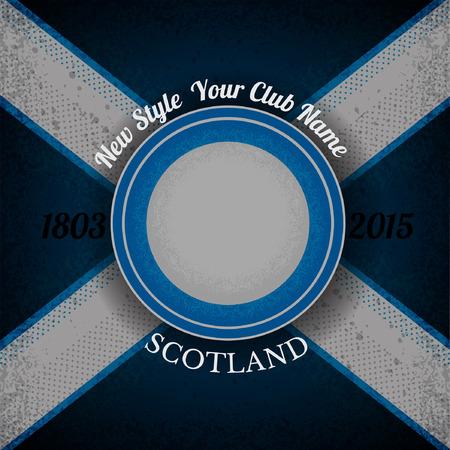 scottish flag: Telaio cerchio blu per la lable sulla bandiera scozzese strada grunge background.print Vettoriali