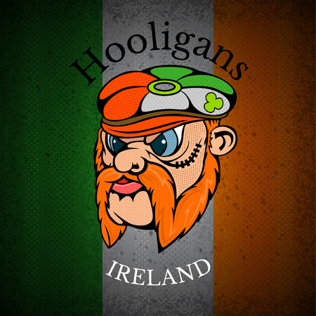 whiskers: red whiskers head of Irishman in cap on Irish flag grunge background.print street hooligans style