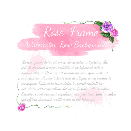 pink and violet watercolor rose with leaves elements and brushstroke on white background,template card or greeting for text