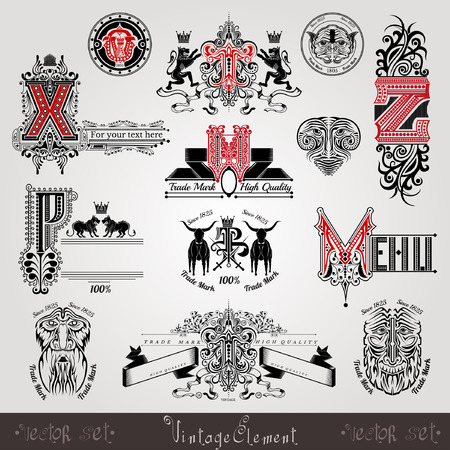 letter head: set vintage heraldic labels and capital letter with pattern and animals