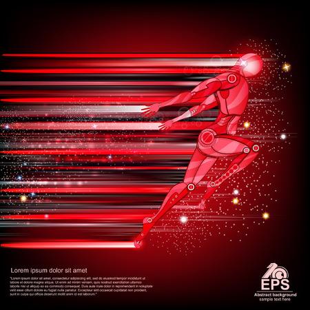 runing: fondo con cyborg volar o runing con la velocidad de la luz y la pista de desenfoque de movimiento a por ella Vectores