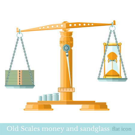 sandglass: scaleswith money and sandglass on different scalepans