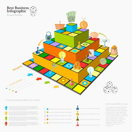 fondo infografía negocio plana con tablero de juego pirámide financiera Vectores