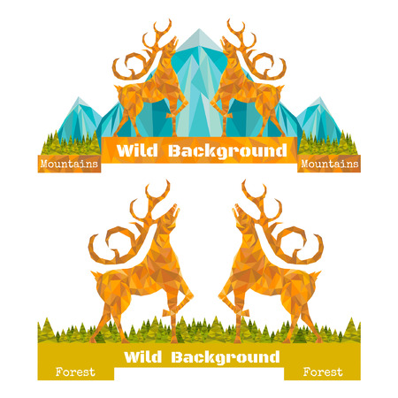 horizont: two banner crumpled paper background with deer opposing and forest and mountines on horizont